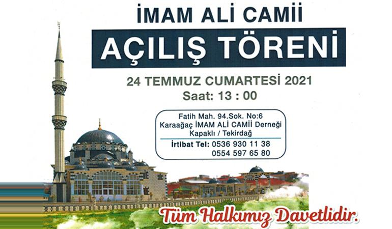 Özgündüz, Karaağaç İmam Ali (a.s) Camii Açılışını Gerçekleştirecek